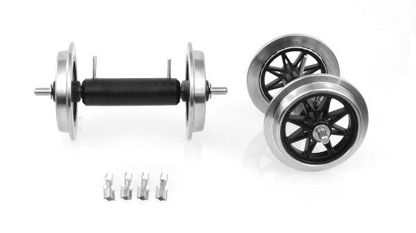 Metall V Speichenradsatz, 2 Achsen mit Stromführung,