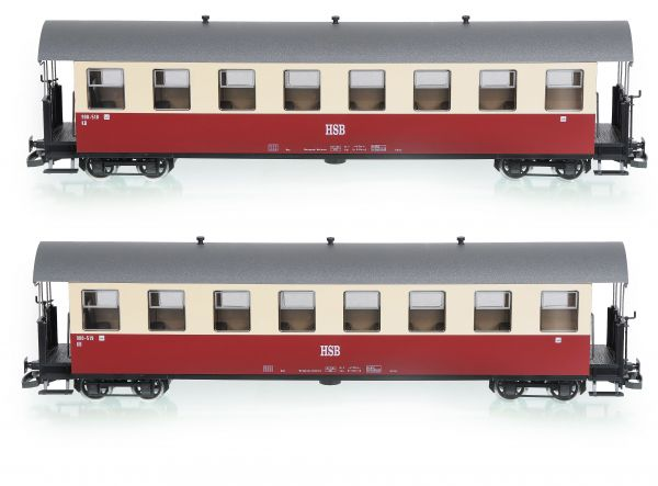 2er Set HSB Personenwagen, 8 Fenster, 900-518, 900-519