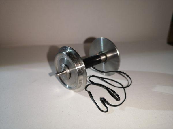 Achse, kugelgelagert, Voll-Edelstahlrad MIT Stromführung, 34mm (PIKO)
